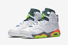 The Air Jordan 6 returns on April with a new White/Ghost Green-Hasta-Bright Mango colorway exclusive for GS sizes. Jordan Swag, Nike Air Jordan 6, Jordan Shoes, New Sneakers, Kids Sneakers, Casual Sneakers, Sneakers Nike, Jordan Sneakers, Jordan Retro 6