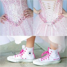 Bat Mitzvah Pink Dress with Sequins & Converse Sneakers Customized with Name & Event Date {Party Planner: The Event of a Lifetime, Peter Oberc Photography} - mazelmoments.com