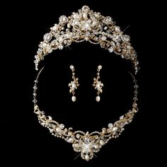 Gold Plated Crystal Freshwater Pearl Wedding Jewelry with Matching Bridal Tiara | eBay