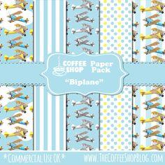 CoffeeShop Biplane digital paper pack, FREE!!!