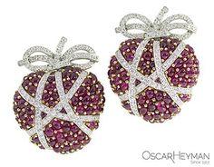 Gold, Platinum, Ruby and Diamond Earrings by Oscar Heyman