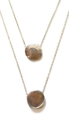 Sterling Silver Personalized Fingerprint Double Necklace