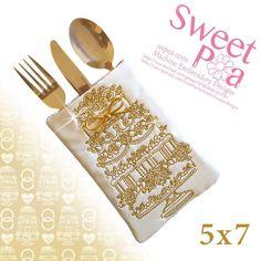 Wedding cake cutlery pocket 5x7 in the hoop machine embroidery design - Sweet Pea