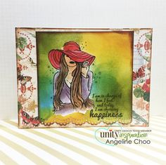 "BRAND NEW on the UNITY Website!  Created by Angie Blom. This kit contains 2 stamps.  Girl measures approximately 2.25"" x 3.25"".  ""I am in charge of how I feel and today I am choosing happiness"" sentiment measures approximately 1.25"" x 1.5"".  All Unity Stamps are pre-cut, mounted on cling foam and ready to use right out of the package – you can mount our stamps on any acrylic block.  Unity is known for its HIGH QUALITY red rubber stamp – to be used for years to come."