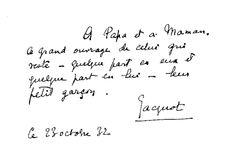Jacques Lacan : Dédicace de sa thèse à ses parents.
