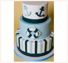 nautical cake, would be super cute for a baby shower or first birthday