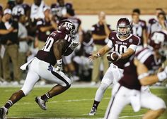 Kyle Allen hands off to James White Texas A&M vs. Lamar Photo Gallery by Will Leverett - Good Bull Hunting