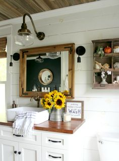 13 Beautiful Farmhouse Bathrooms. These are the trendiest and most beautiful bathrooms with a shabby chic farmhouse look.
