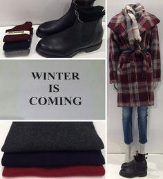 #RMWilliams Støvler #Melograno Strømper #Sensi Cashmere strik #Altea Tørklæde #Closed Ternet uld frakke og jeans #Sensi Cashmere strik  www.fashionbox.dk www.FLOT.nu