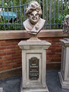 Bust of Aunt Florence in the queue at Haunted Mansion, Orlando.  Photo By John Eagen