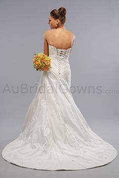 Taffeta Strapless Sweetheart Corset Bodice A-line Wedding Dress