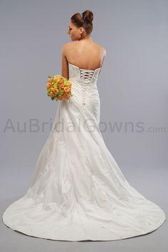 Taffeta Strapless Sweetheart Corset Bodice A-line Wedding Dress
