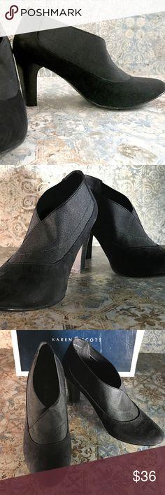 Karen Scott Booties Heels 9.5 NEW Karen Scott Booties with  Heels 9.5 NEW  Gorgeous and Sexy Karn Scott Suede Booties with high heels. In original box. Never used.  3 inch heels. Karen Scott Shoes Ankle Boots & Booties