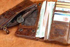 Handmade vintage rustic bifold leather men long wallet purse clutch ba | EverHandmade
