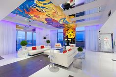 Ceiling adds color and character to the living room [From: David Marquardt Architectural Photography]