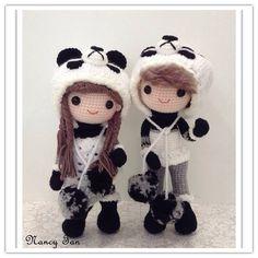 Amigurumi girl and boy dolls in panda suite. (Inspiration).