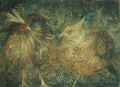"""Chen Yiching, Fraternité (2005). Cette peintre taïwanaise vivant à Paris est une spécialiste du """"nihon-ga"""", une technique de peinture traditionnelle japonaise reposant sur un savant dosage de pigments naturels, de nacre, de feuilles d'or et d'argent. Certains pigments proviennent de pierres semi-précieuses ou de coraux broyés. Mêlés à une colle naturelle et déposés sur du papier, les pigments acquièrent un rendu mat et lumineux."""