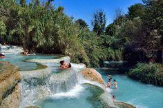 Hot springs at Cascate del Mulino, Saturnia, Tuscany, Italy.