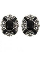 Black White Gemstone Stud Earrings $12.26  #SheInside