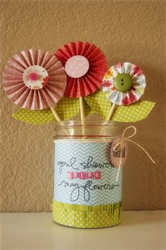 How fun is this for a little girl's room!? Love this vase by Ashley Harris. She stamped on the panel of chevron paper before adhering it to the jar. She also stamped the tag.
