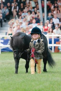 Precious! Little girl and pony with ribbon.