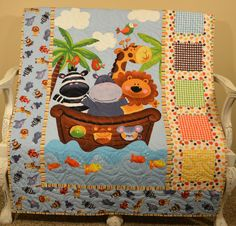 Noah's Ark Quilt Baby Boy blanket Blue animals by Just4FunQuilts