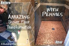 DIY shower floor redo. How to make a beautiful shower floor with pennies.  Create a new, fancy, unique and gorgeous shower floor with pennies! The project only costs $54, but looks like a million bucks! Love it!
