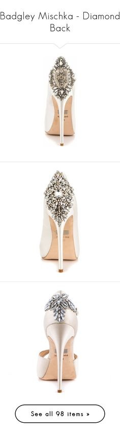 """""""Badgley Mischka - Diamond Back"""" by lynnspinterest ❤ liked on Polyvore featuring shoes, pumps, embellished evening shoes, cocktail shoes, embellished pumps, evening bridal shoes, embellished shoes, wedding, white high heel shoes and white satin shoes"""