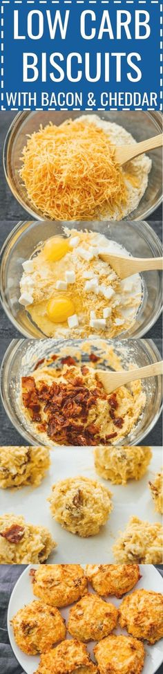 Low carb biscuits with bacon and cheddar: biscuits can be delicious and healthy – like these easy homemade biscuits made with almond flour, cheddar cheese, and bacon. Biscuits Keto, Easy Homemade Biscuits, Cheddar Biscuits, Cheddar Cheese, Breakfast Biscuits, Breakfast Cereal, Cheese Biscuits, Ketogenic Recipes, Eating Clean