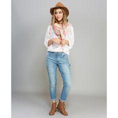 Jrg Apparel/ Indigo Rein  Bleach Splattered Carpenter Jeans ($37) ❤ liked on Polyvore featuring jeans, lt vintage, wet seal, loose fitting jeans, wet seal jeans, carpenter jeans and relaxed fit jeans