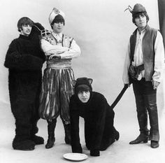 The Beatles, before facial hair. Ringo, John, and George and a cute kitty named Paul. Re pinned here cause the un cropped image of the Fab Four in costume is way cool.