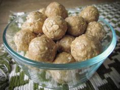 Honey Oat To-Go Bites. Ingredients: oats, peanut butter, honey (or maple) and cinnamon. Optional: raisins or dried fruit of choice and shredded coconut. If reactive to honey and maple syrup, use allowed pureed fruit (such as pears or apples) to sweeten. Sub or Omit other ingredients until Phase 6.