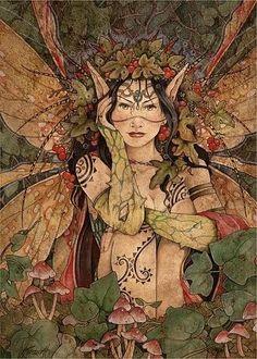 Aine - a Deusa celta Senhora do Povo das Fadas. Filha de Eogabail, o qual foi em tempos o enteado de Manannan mac Lir. Seu culto embasa uma vertente da wicca, que é a Faery Wicca. Ela é mencionada como forma jovem da Deusa Dannu. Descrita como uma Donzela bonita se apresenta dançando nos Círculos de Fadas. É uma Deusa do amor, da alegria, da beleza e da fertilidade. Originariamente era uma Deusa do gado, cultuada em Knockaine, Irlanda.