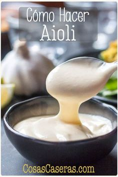 Make the perfect accompaniment to fish, rice dishes, or anything that could benefit from a creamy, garlic sauce, in 5 minutes with this easy aioli recipe. Garlic Aoli Recipe, Vegan Aioli Recipe, Aoili Recipe, Garlic Recipes, Sauce Recipes, Cooking Recipes, Garlic Sauce, Roasted Garlic Aioli, Homemade Aioli