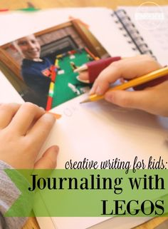 Creative writing for kids -journaling with LEGO - what a fun way to make writing exciting! Creative Writing For Kids, Writing Prompts For Kids, Writing Strategies, Writing Lessons, Writing Skills, Writing Promps, Writing Resources, Lego Activities, Educational Activities
