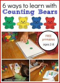 Fun ways to learn with counting bears - with free printables for kids ages 2-8