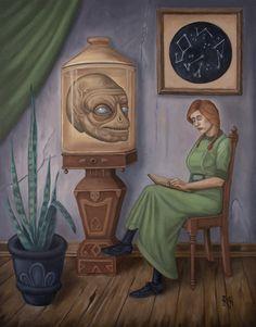Fine Art Photo, Photo Art, Head In A Jar, Arte Lowbrow, Aliens And Ufos, Alien Art, Oil On Canvas, Fantasy Art, Creepy