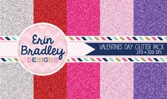 """Valentines Day Glitter Digital Paper Pack Freebie Personal & Commercial Use OK - five 6"""" x 6"""" JPG digital scrapbook papers in silver, red, hot pink, light pink & purple"""