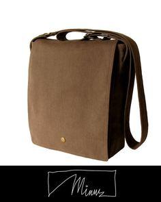 Minus messenger bag in chestnut brushed cotton twill