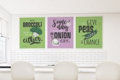 A Set of 3 Prints for the Kitchen - Printable #instantdownload #print #digitalfile #printableart #walldecor #ikeasize #funnyquote #typography #kitchendecor #givepeasachance #onioncry #broccoli #setof3