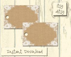 Rustic favor tags  DIY wedding Burlap & Lace by itsyditsydesigns, $5.00