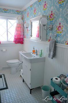 Our Bathroom Remodel - Lark & Lola - Pip Studio - Wallpaper - Shabby Chic - Beadboard - Ruffle Curtains Diy Bathroom Remodel, Bathroom Renovations, Home Remodeling, Ruffle Curtains, Floral Bedroom, Pip Studio, Shabby Chic Bedrooms, Shabby Chic Kitchen, Kids Decor