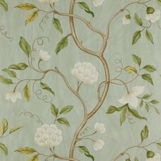 Snow Tree by Colefax and Fowler - Aqua - Wallpaper : Wallpaper Direct Aqua Wallpaper, Cream Wallpaper, Fabric Wallpaper, Wallpaper Online, Oriental Wallpaper, Hallway Wallpaper, Classic Wallpaper, Chinoiserie Wallpaper, Colefax And Fowler Wallpaper