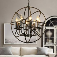 Industrial Black Metal Orb Cage Chain Suspended Candelabra Chandelier