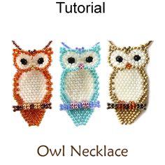 Beaded Owl Necklace Brick Stitch Beading Pattern Tutorial