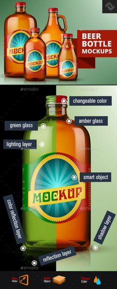 4 Screw Cap Beer Amber Green Glass Bottle Mockups by Fusionhorn Professional premade scenes, great for your design showcase, product, presentations and advertising. Realistic looking template fi