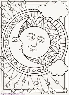 Sun Moon And Stars Designs To Color Dover Publications Sample Mandala Images Coloring Books Adul On Hippie Custom Coloring Book Pages By Dawncollins Sun Coloring Pages, Mandala Coloring, Printable Coloring Pages, Coloring Sheets, Coloring Books, Colouring, Free Coloring, Coloring Pages For Adults, Abstract Coloring Pages