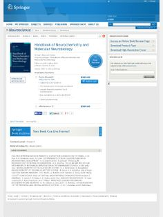 Handbook of Neurochemistry and Molecular Neurobiology - Sensory Neurochemistry Neuroscience, Book Review, Books Online, My Books, Public, Website, Reading, Reading Books, Neurology