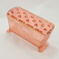 Palm Leaf Brocade Fostoria 2373 Window Box Flower Frog Pink Glass Vtg.