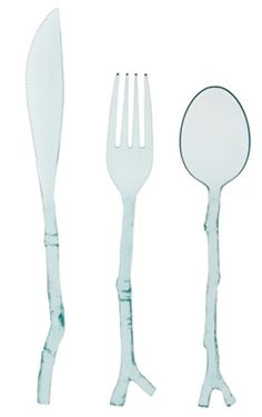 The MADHOUSE by Michael Aram Twig cutlery in translucent teal features twig-like designs that make this disposable cutlery a stylish choice for special gatherings. The 12-piece set includes 4 forks, spoons and knives and is not intended for use in microwave.